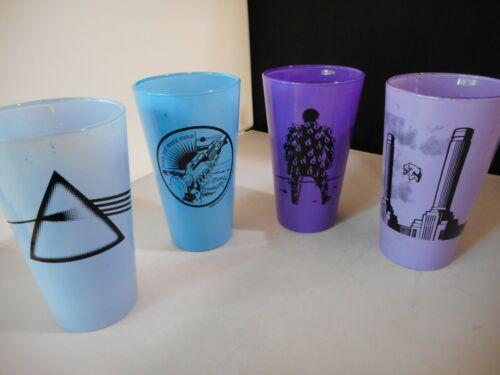 Vtg PINK FLOYD Tumblers Set of 4 Purple & Blue Glasses  2008 Wish You Were Here