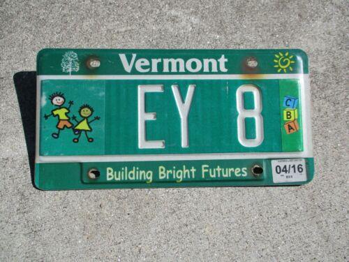Vermont 2016 Children license plate #   EY  8