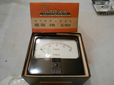 Simpson Model 1359 Analog Panel Meter 0 - 100 Ac Volts Nos