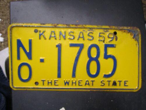 Kansas   License Plate  Car Tag 1959 Neosho  County NO 1785