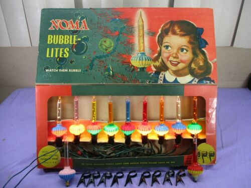 VINTAGE NOMA BUBBLE LITES & 9 CLIPS in original BOX   **SHOWN WORKING**  1940