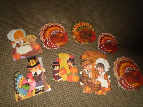 8 Vtg. Ambassador/American Greetings/Hallmark Die-Cut Thanksgiving Decorations
