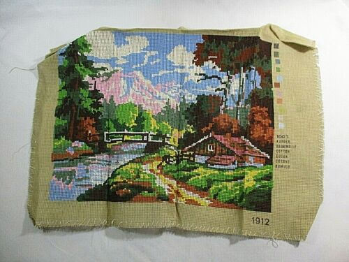 Vtg. Cabin In Woods, Mtns. Hand Sewn Needlepoint Canvas Finished