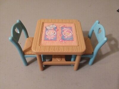 Fisher Price Loving Family Dollhouse 1993 Flip Top Dining Table 2 Blue Chair lot