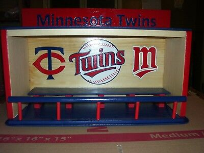 Minnesota Twins Bobble Head Display Case with T & M  Ball logo handcrafted (Minnesota Twins Display Case)