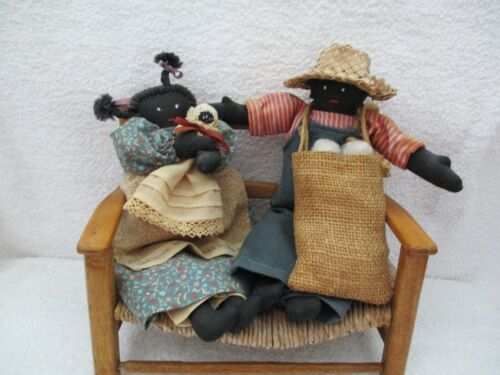 """""""Early Peggy Stokes Signed Black Americana Dolls """"Toby"""" & """"Patience""""+ Wood Bench"""
