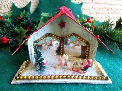 VINTAGE PUTZ HOUSE & MIRRORS BEADS & CELLULOID SANTA&SLED&REINDEER XMAS ORNAMENT