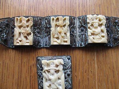 VTG ASIAN  3D STORYTELLER PANEL  Carved Wide Filigree Bracelet & Pin