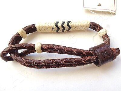 New Ralph Lauren RRL Dark Brown Braided Leather Cuff Bracelet Wristband