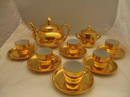 Antique French Pillivuyt Gold Gilt Porcelain Tea Service +/- 1900 .  Marked .