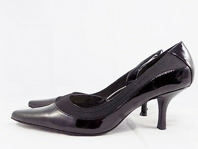 Nine West ROLYNG Black Patent Fabric Classic Pumps Heels // Women's Size 8.5M