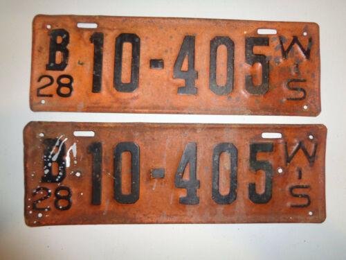 Vintage Pair 1928 Wisconsin License Plates 10-405 B