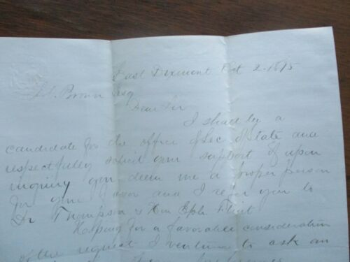 1875 S.J. Chadbourne (Secretary of State,House of Reps,Dixmont,Maine),ALS Letter