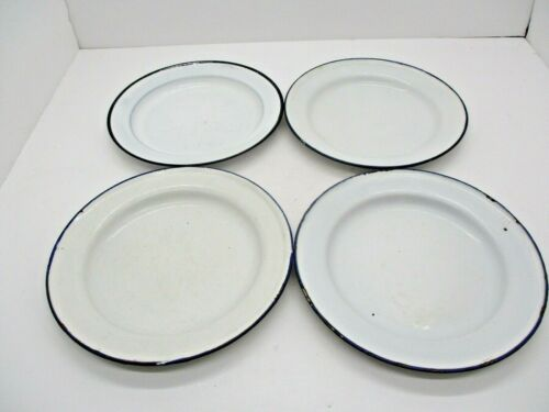 4 Vintage Blue and White Enamelware Plates Sweden