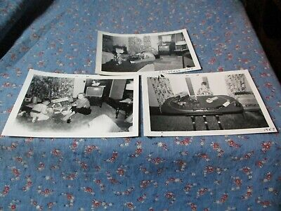 """3 Old Photos 1958 Printed 1966 Christmas Train Set Other Toys 3 1/2 x 5 1/8"""""""