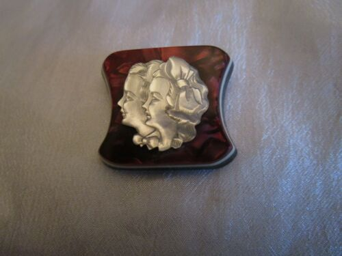 Vintage Cameo Double Face Lucite Mother of Pearl 3 Layers Brooch