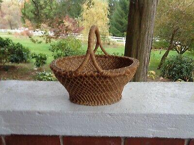 Vintage Antique Basket Weaved Wicker Primitive Decor Looks To Be Handmade