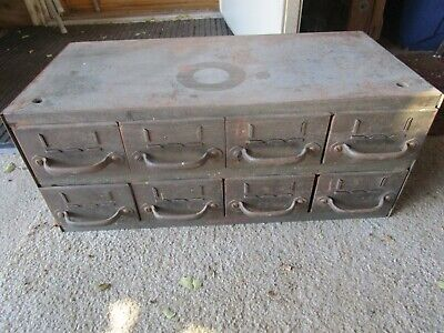 Vintage Steel Equipto 8 Drawer Parts Storage Cabinet Hardware Cool