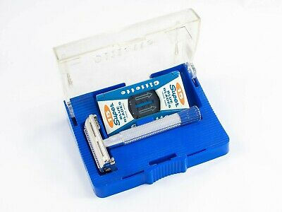 Gillette Blue Tip Safety Razor 1956 B4 with Case & Blade Bank