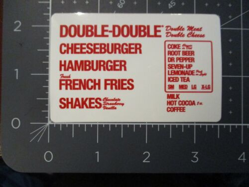 IN-N-OUT BURGER in and out california menu STICKER decal