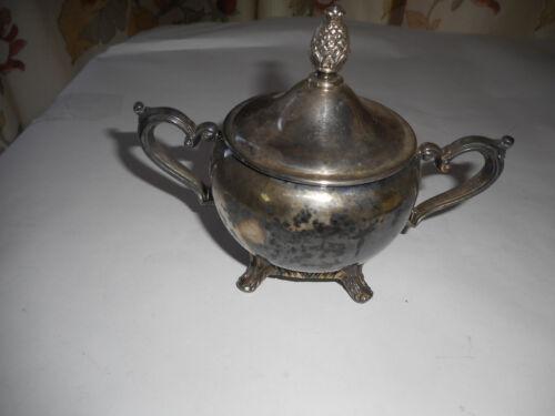 "Vintage William Rogers Silverplate Sugar Bowl w/ Lid 6"" Wide"