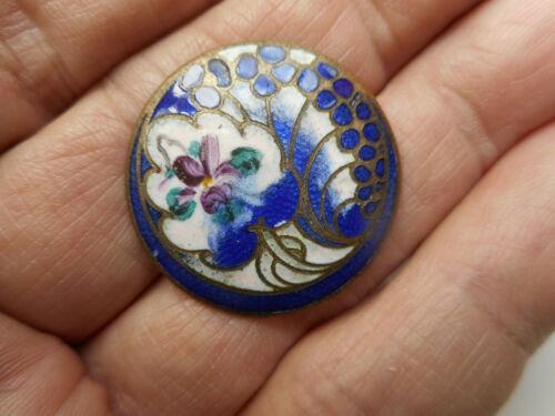 "Blue & White Enamel Flower Brass Vintage Antique Button 1-1/16"" RS"