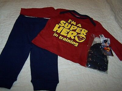Baby Boys 3/6 Mos Outfit, Top with cap, Superman & Pant~$ General~NWOT~P20 - Baby Superman Outfit