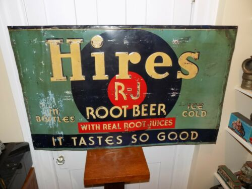 Vintage Large Hires Root Beer Embossed Metal Sign