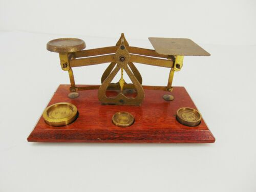 Vintage BALANCE SCALE Brass Warranted Accurate England 1/2 to 2 oz