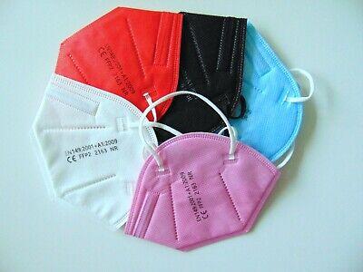FFP2 Maske 10 x Mundschutz bunt Kinder 5 Lagig CE 2163 zertifiziert Kid 5Farben