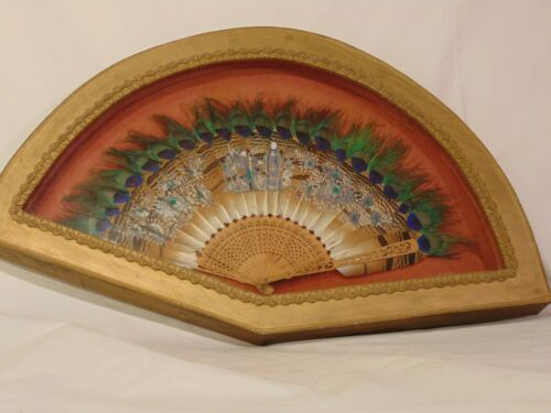 Antique Hand Painted Chinese Peacock Feather Fan Framed Carved Sandalwood