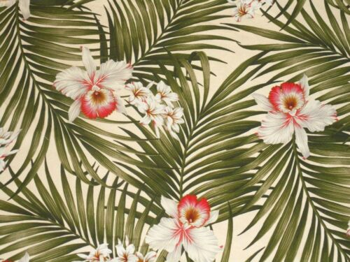 Hawaiian Tropical Cotton Barkcloth Upholstery FABRIC ~Fern /Orchids~