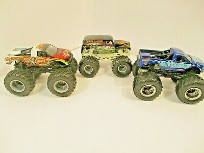 HOT WHEELS MONSTER JAM TRUCK LOT OF 3 ELIMINATOR, GRAVE DIGGER, BLUE THUNDER