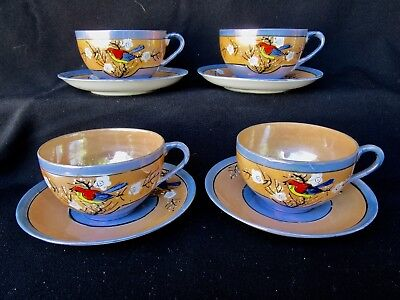 Parrot Pattern  -  Lusterware  -  4 Cup and Saucer Sets  -  Beautiful