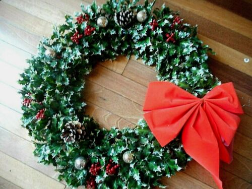 "Vintage Plastic Holly Leaf Berries 21"" Christmas Wreath with Mercury Glass Balls"