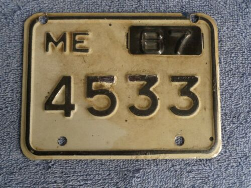 1967 maine MOTORCYCLE     license plate   #  4533