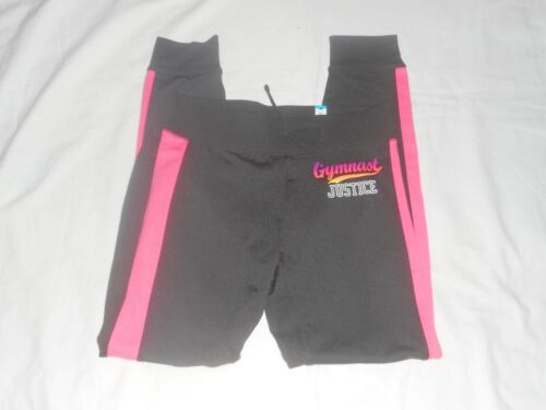 Girls Justice Black/Pink Gymnast Yoga Pants  Size 14 NWT