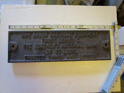 Vintage Ann Arbor Railroad Equipment Trust, The Boatmen's National Bank Plaque