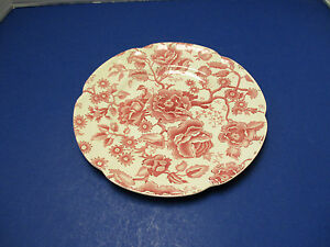 Johnson Bros English Chippendale Pink Red Chintz Dinner Plate Vintage