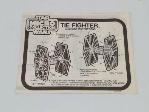 Vintage Star Wars Micro Collection Tie Fighter Instructions