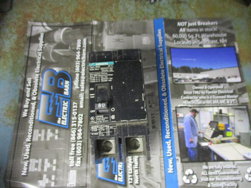 Siemens BQD280, 2 Pole 80 Amp 480 VOLT Circuit Breaker, WARRANTY