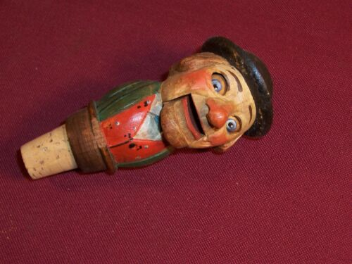 Vintage Detailed Hand Carved Wood Mechanical Man Bottle Cork Stopper Barware Old