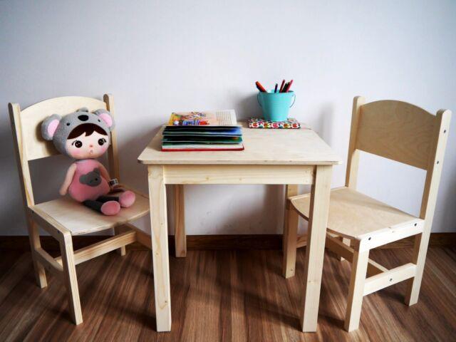 ▻ Kinder tisch mit stuhle aus Fichte SET ▻ NATUR oder zum selbst ...
