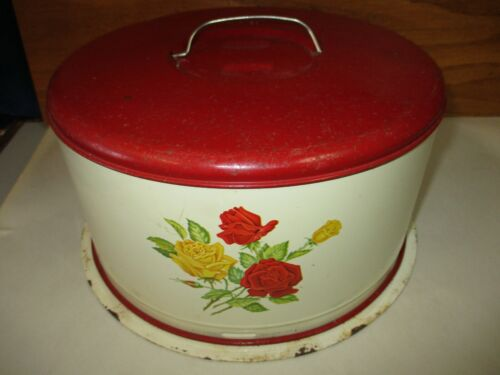 """Vintage Yellow Red Roses G.S.W 1952 Locking Tin Domed Cake Serving Carrier (10"""")"""