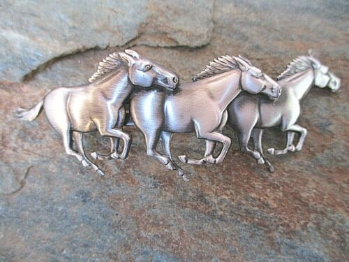 Running Horses Silver Plated Hair Barrette French 70mm Clip Made in USA 6039S