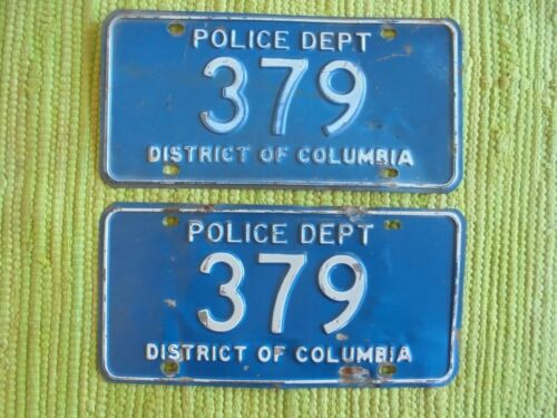 Early POLICE Dept License Plate District of Columbia Tag Pair Washington DC LOW#