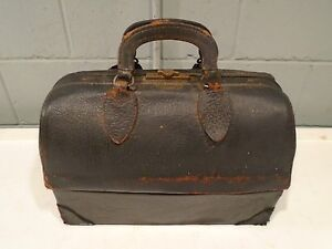 Endee Doctor Bag Schell Vintage Medical Bag/Case Dr. All Leather Early-Mid 1900s