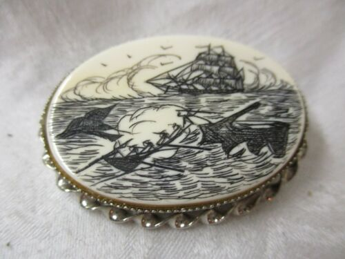 Vintage Sterling Scrimshaw Brooch Pendant Ship Whale signed L.S.P. LS Peterson