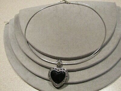 Vintage Sterling Silver Reversible Onyx Marcasite Heart Pendant Collar Necklace Marcasite Onyx Necklace