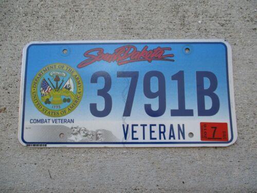 South Dakota 2016 Combat Veteran Army license plate #  3791 B
